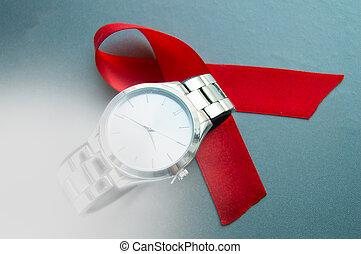mundo, ajudas, dia, a, símbolo, de, a, fita vermelha, e, a, relógio, -, faça, não, desperdício, tempo, começar, tratamento