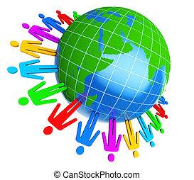 mundo, alrededor, gente