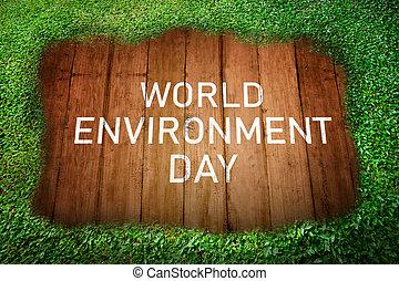 mundo, ambiente, día, mensaje, en, tabla de madera
