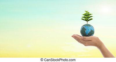 mundo, ambiente, día, y, verde, concept.
