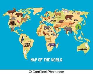 mundo, animais, mapa