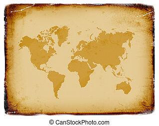 mundo, antiguo, grunge, mapa, plano de fondo