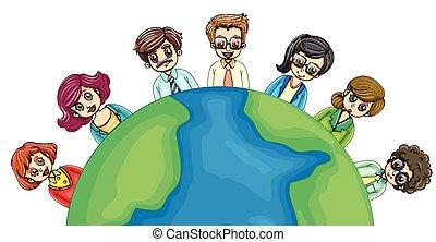 mundo, ao redor, pessoas negócio
