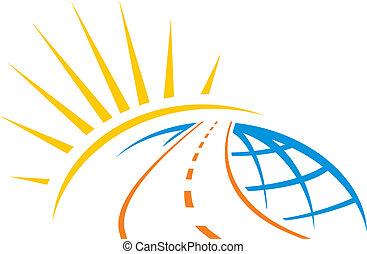 mundo, através, estrada