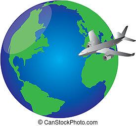 mundo, avião, ao redor
