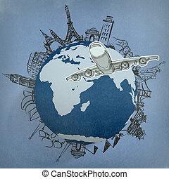mundo, avião, viajando, ao redor