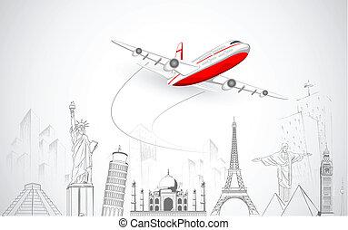 mundo, avião, voando, acima