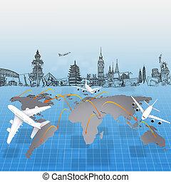 mundo, avión, alrededor