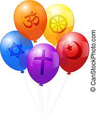 mundo, balões, religiões