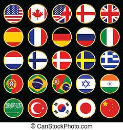 mundo, bandeira, botões