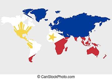 mundo, bandeira filipinas, ilustração