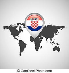mundo, bandeira, ponteiro, mapa