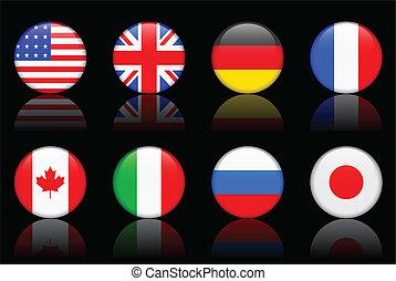 mundo, bandeira, série, mundo, bandeira, série, g8, países