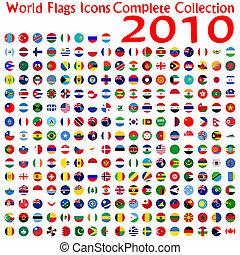 mundo, bandeiras, ícones, cobrança