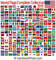 mundo, bandeiras, cobrança