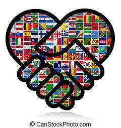 mundo, bandeiras, com, cooperação