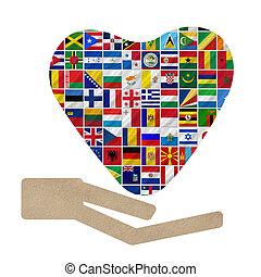 mundo, bandeiras, cooperação
