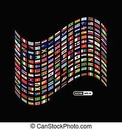 mundo, bandeiras, desenho, vetorial