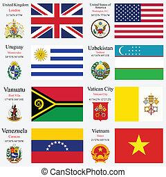 mundo, bandeiras, e, capitais, jogo, 26