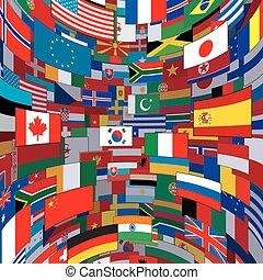 mundo, bandeiras, fundo