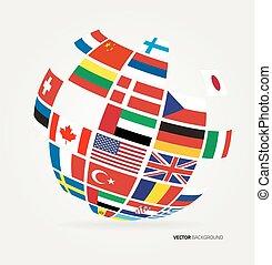 mundo, bandeiras, globe.
