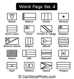 mundo, bandeiras, jogo, 4, ., simples, estilo, e, apartamento, desenho, ., grossas, esboço, .