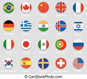 mundo, bandeiras, redondo, ícones, jogo