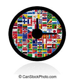 mundo, bandeiras, relógio