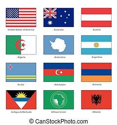 mundo, bandeiras, set., nome, país, letra, a., vetorial