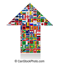mundo, bandeiras, seta