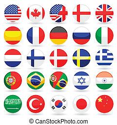 mundo, bandera, botones