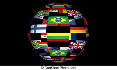mundo, banderas, combinado