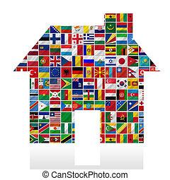 mundo, banderas, con, casa