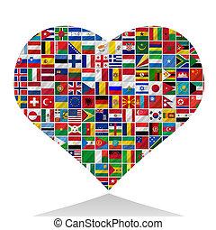mundo, banderas, con, corazón