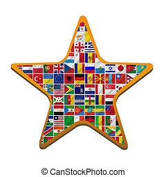 mundo, banderas, con, estrella