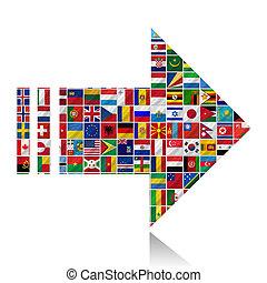 mundo, banderas, con, flecha