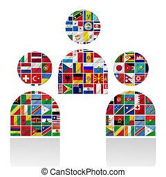 mundo, banderas, con, gente