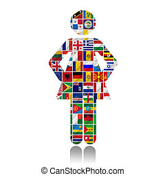 mundo, banderas, con, mujeres