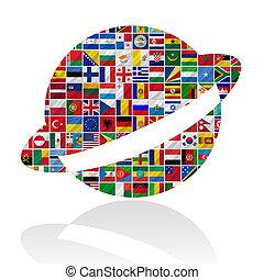 mundo, banderas, con, saturno