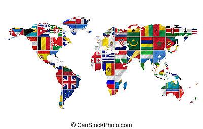 mundo, banderas, con, tierra