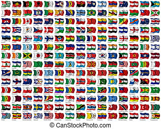 mundo, banderas, conjunto