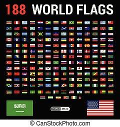 mundo, banderas, diseño, vector