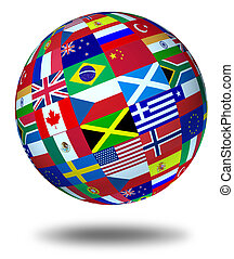 mundo, banderas, esfera, flotar