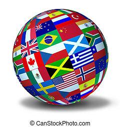 mundo, banderas, esfera