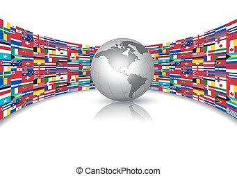 mundo, banderas, plano de fondo, con, un, globe., vector.