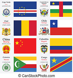 mundo, banderas, y, capitales, conjunto, 5