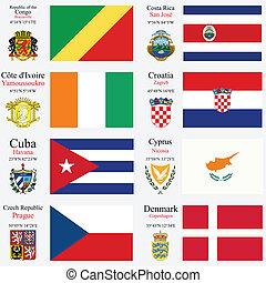 mundo, banderas, y, capitales, conjunto, 6