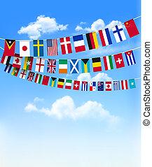 mundo, banderitas, banderas, en, azul, sky., vector,...