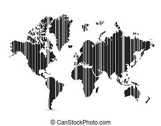 mundo, barcode, diseño, ilustración, mapa