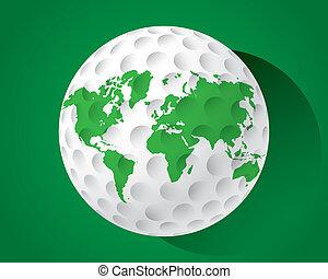 mundo, bola golfe